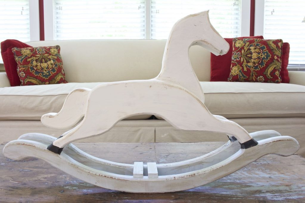 Thrift store rocking horse gets a makeover with chalk paint.