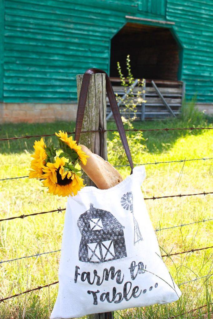 Farm to table DIY tote bag. Vintage inspired bag.