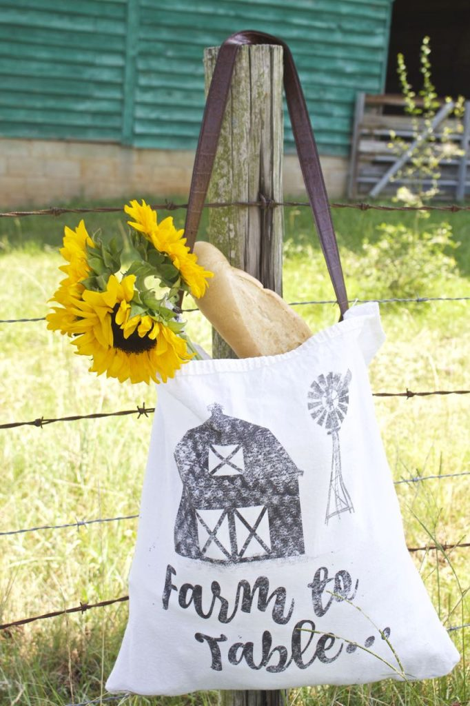 Farmhouse DIY tote. Farm to Table.
