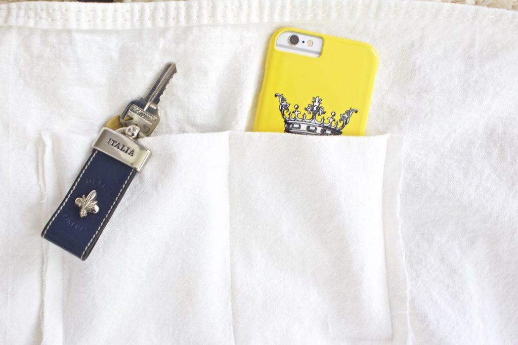 Custom pockets on DIY tote bag. Farmer's Market Bag.