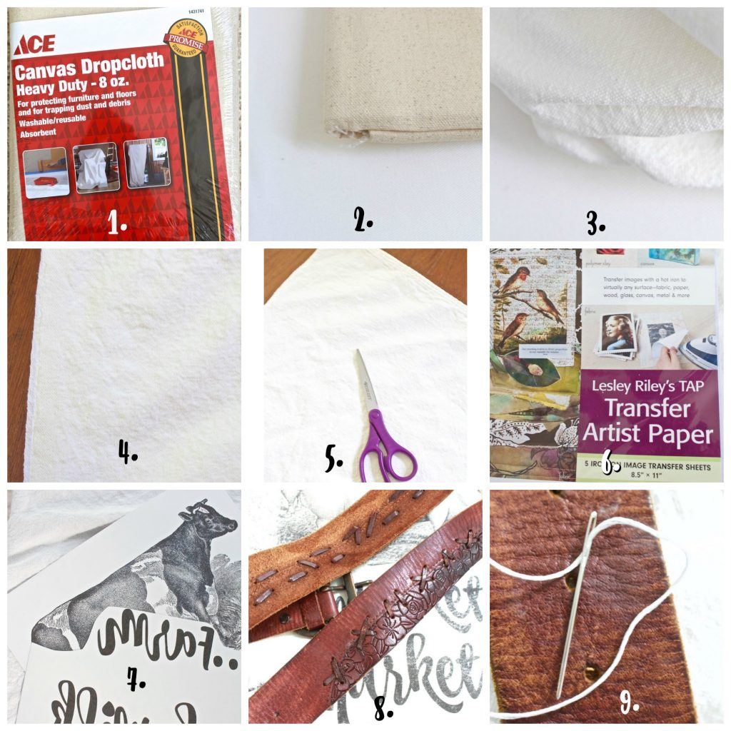 instructions for DIY tote bag. Step by step how to to create market tote bag.