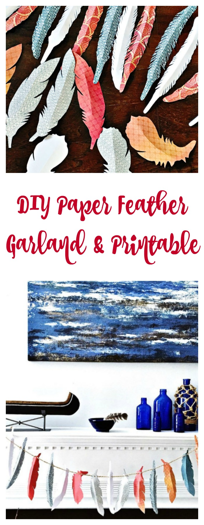 Easy feather craft for Fall. Feather garland with paper feathers.