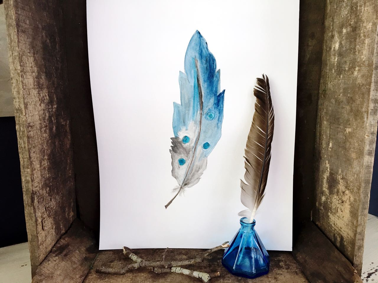 DIY Watercolor Feather. Rustic wood and antique inkwell