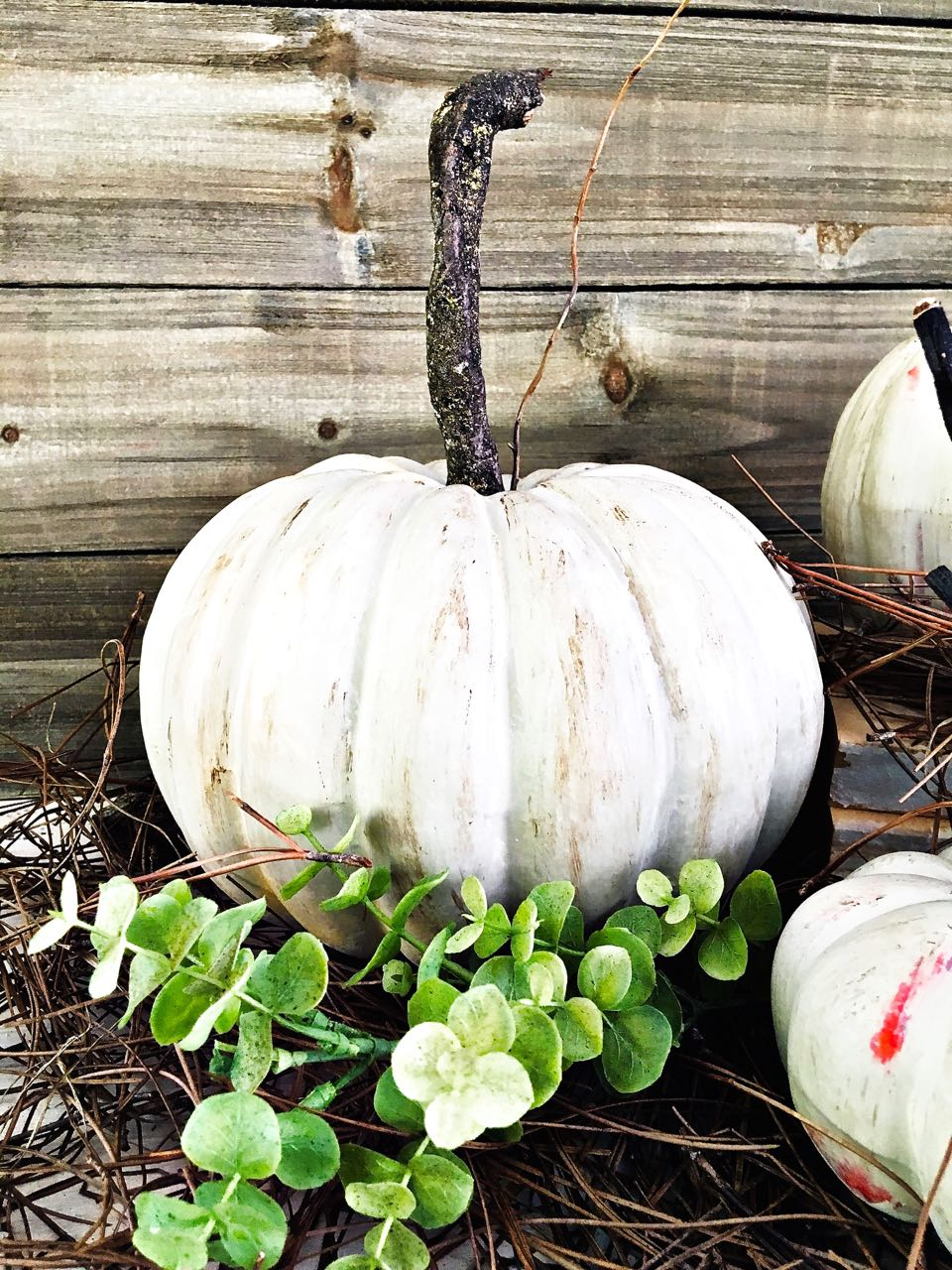 Faux Pumpkin Makeover. Painted Pumpkins and DIY Stems