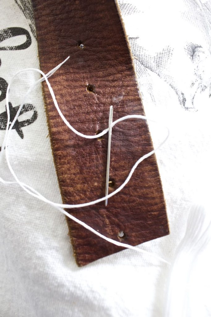 DIY market bag using vintage belt.