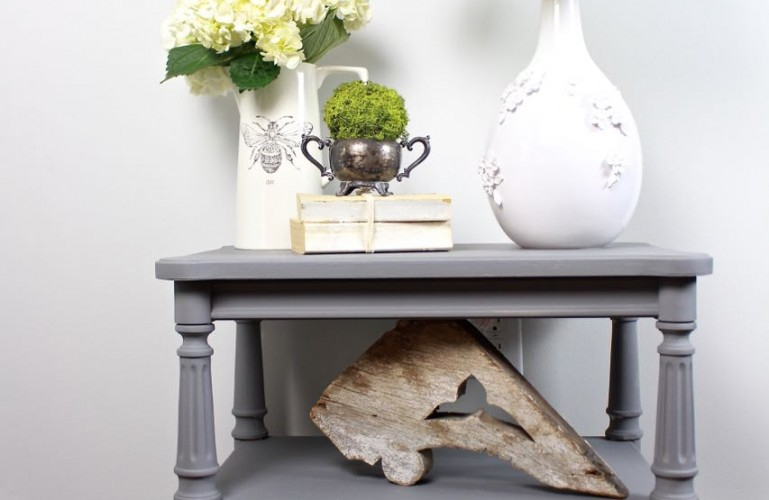 Gray Painted Side Table