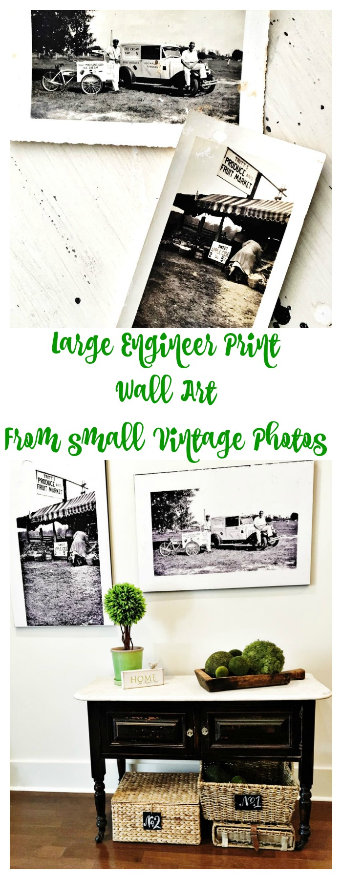 Large Engineer Print Wall Decor Art from small vintage photos.