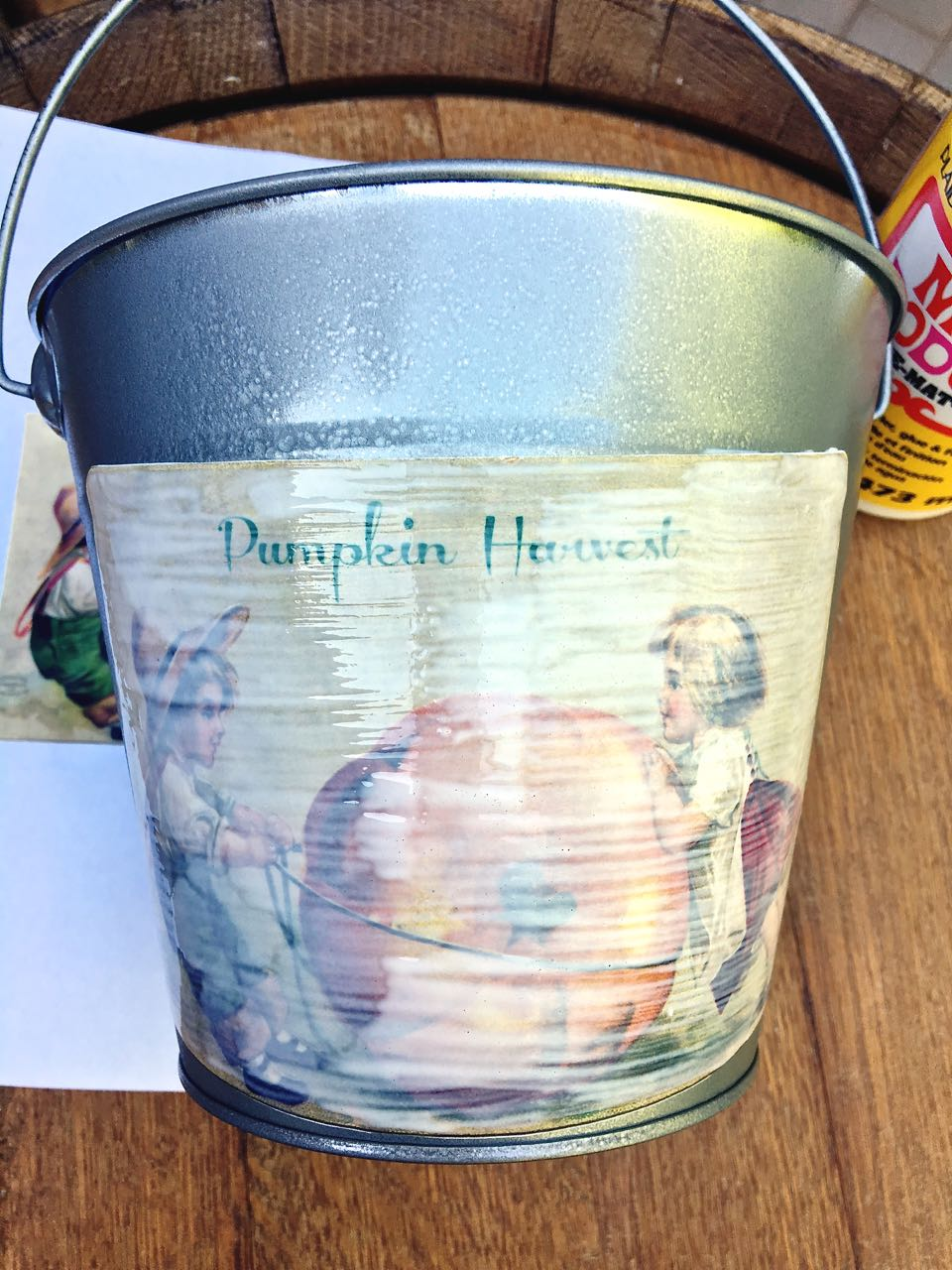 DIY Galvanized Bucket for Fall