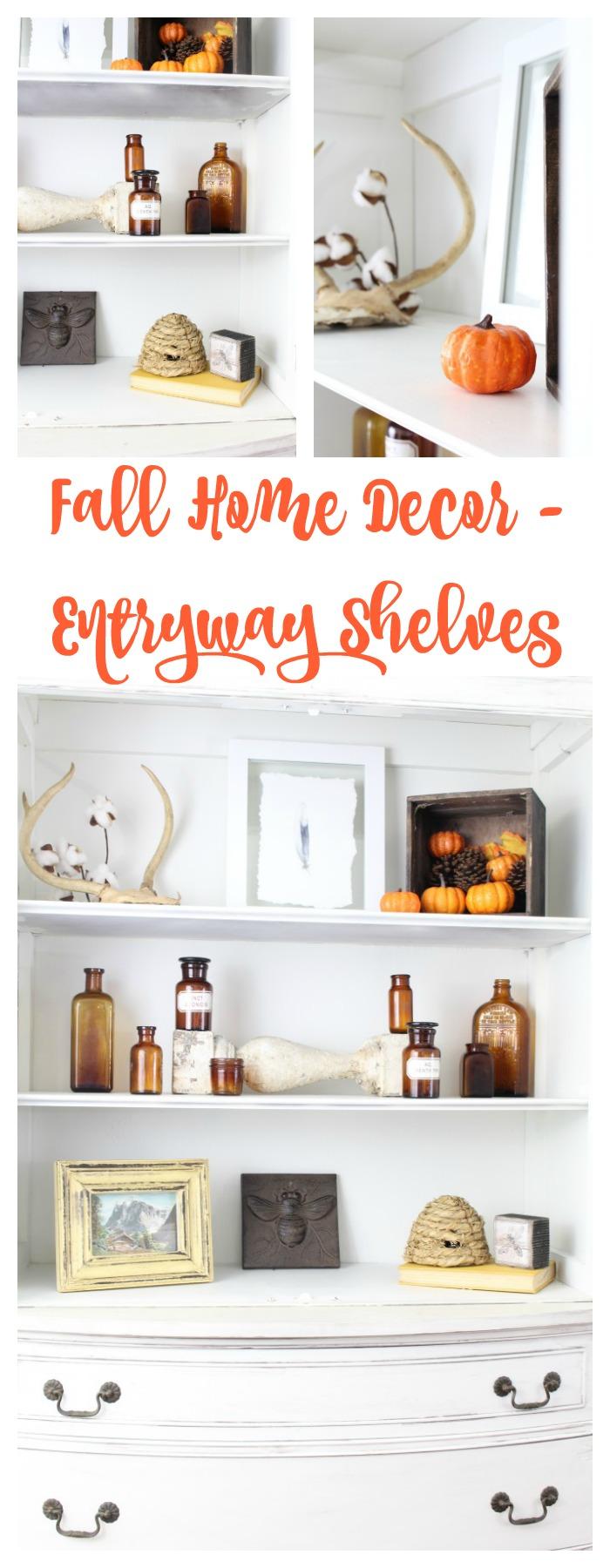 Fall home decor entryway shelves