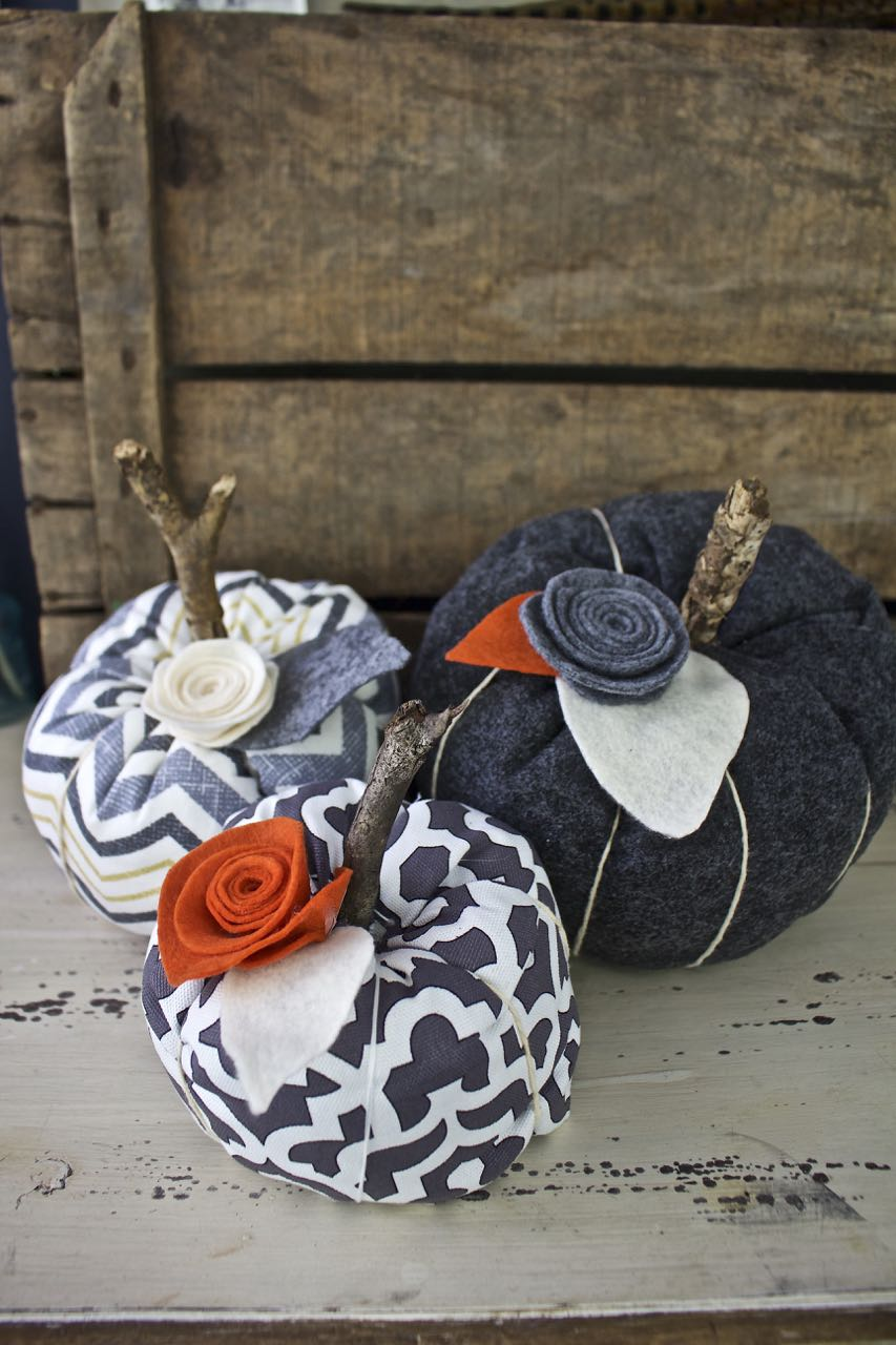 Fabric Pumpkins. Use different fabrics to create fabric pumpkins.
