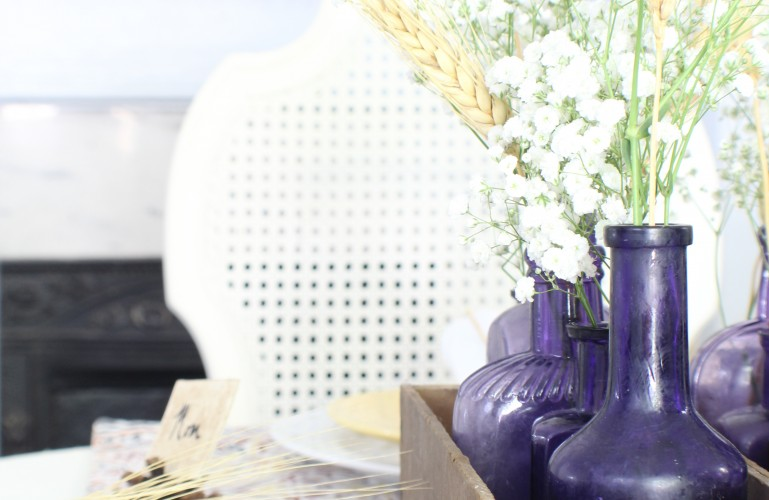 Vintage purple bottles. Fall home tour.