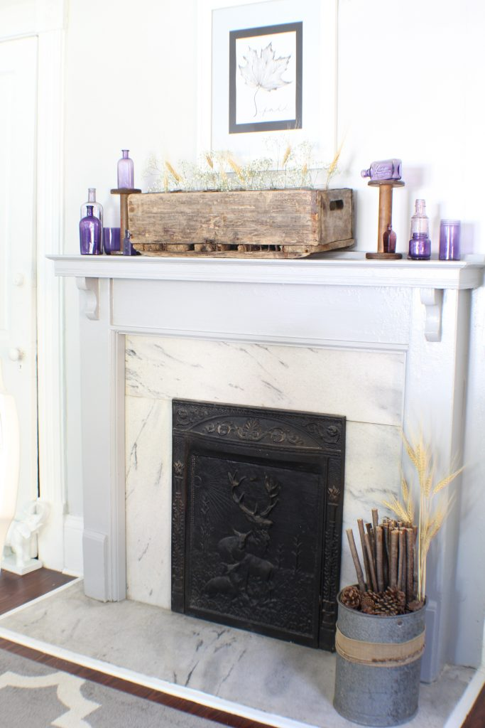 Vintage bottles for mantel decor. Fall home tour.