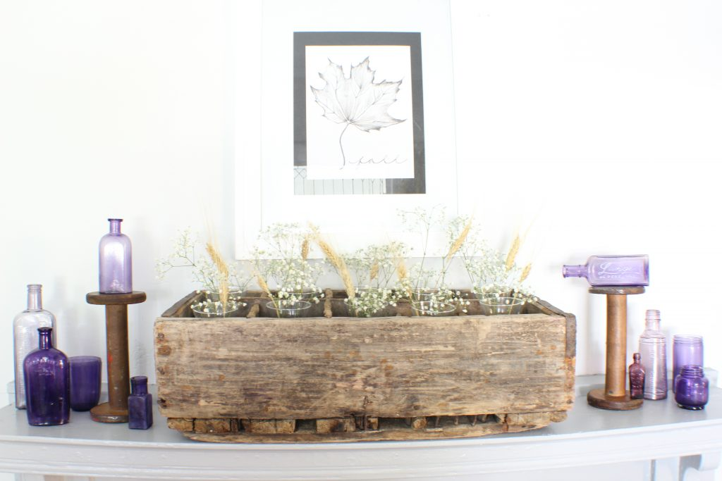 Fall home tour. Mantel decorated with rustic elements,