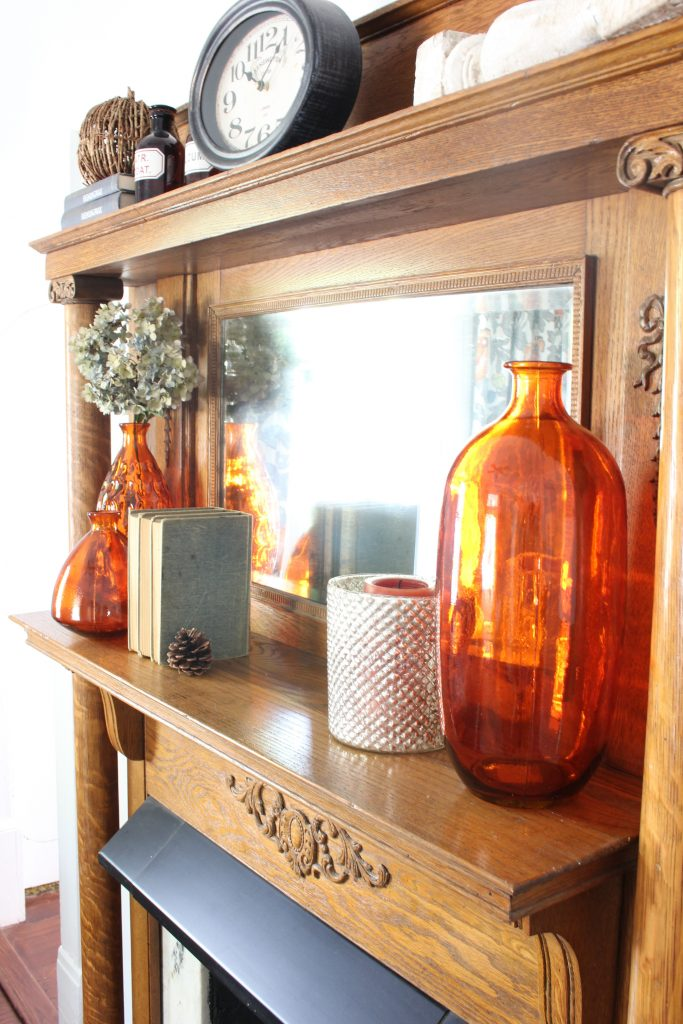 Decorating the mantel for Fall. Fall home tour.