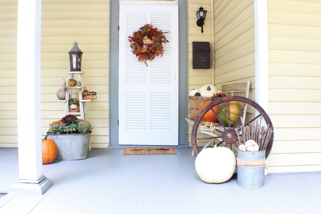 Exterior Fall Front Porch. Pumpkins, mums, wheat, for fall decor.
