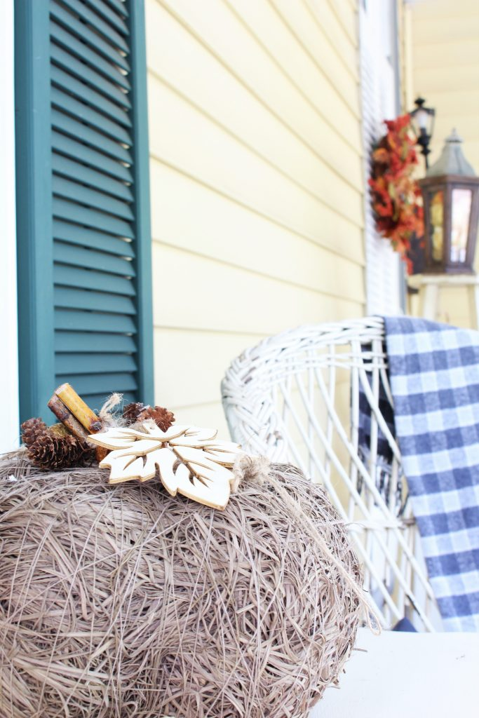 Fall front porch with rustic elements.