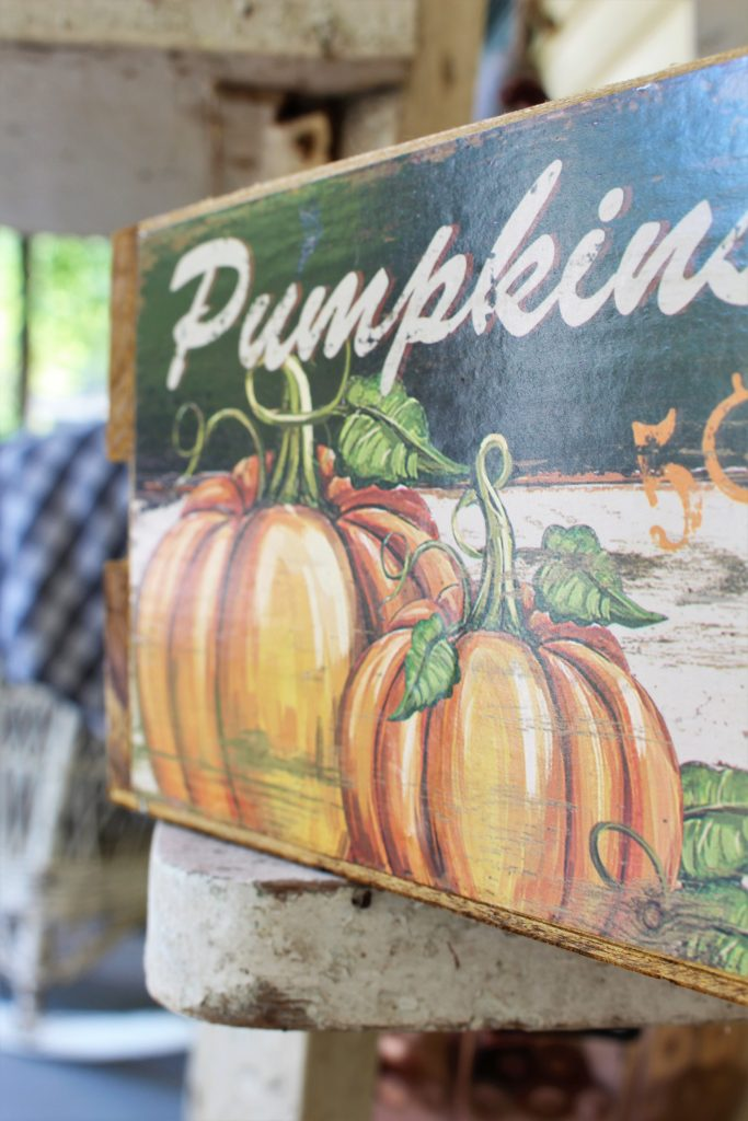 Fall front porch with pumpkins vintage print,