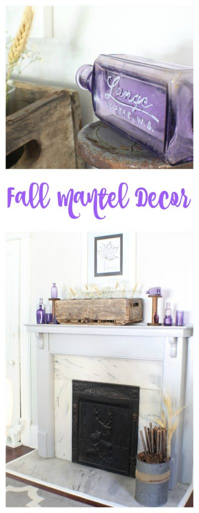 Fall Mantel. Rustic and vintage decor for the fall mantel. Purple glass and vintage wood items for pretty fall mantel.