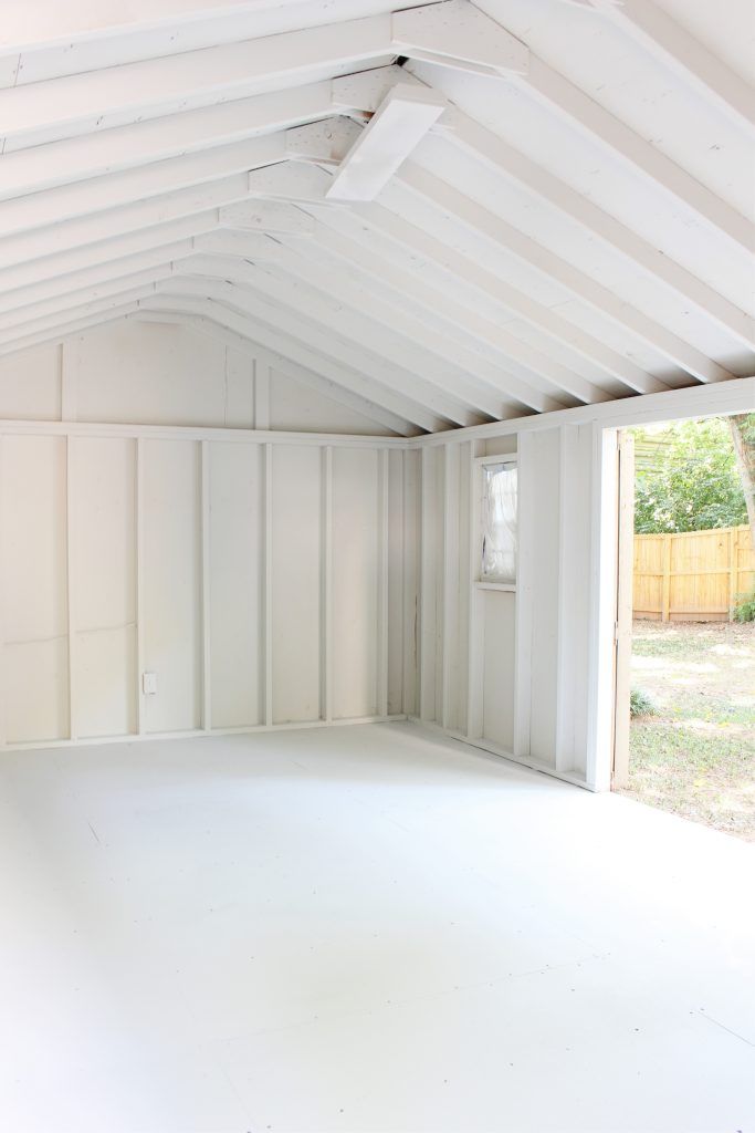 Sherwin Williams Nebulous for She Shed for One Room Challenge