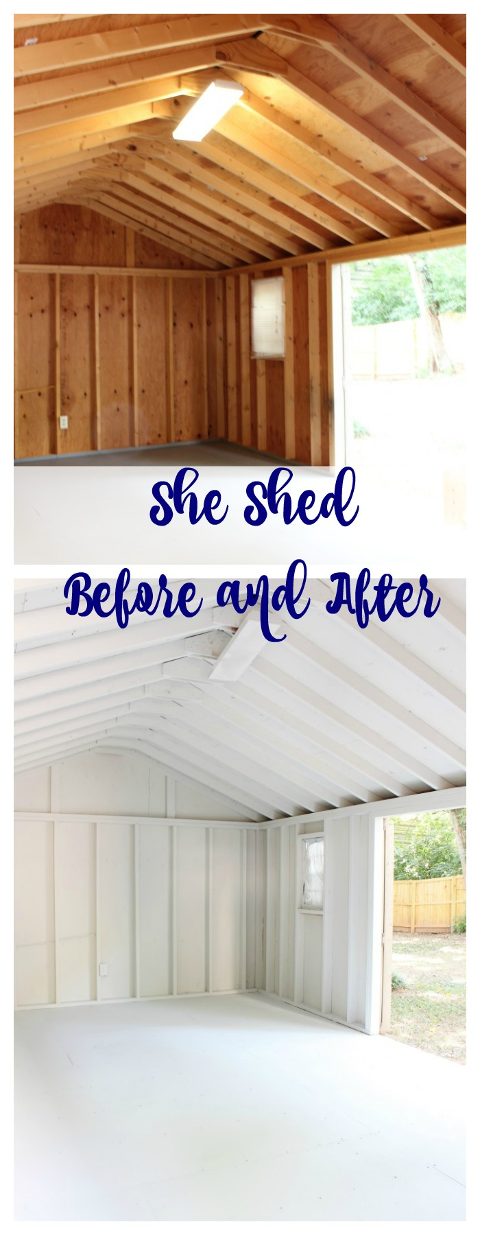 She Shed painted with Nebulous Sherwin Williams paint. One Room Challenge