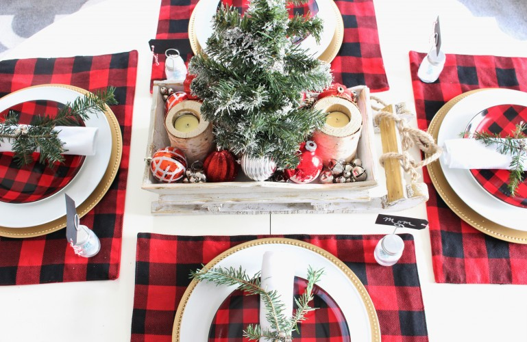 Buffalo Check Christmas Tablescape. Christmas Decor.