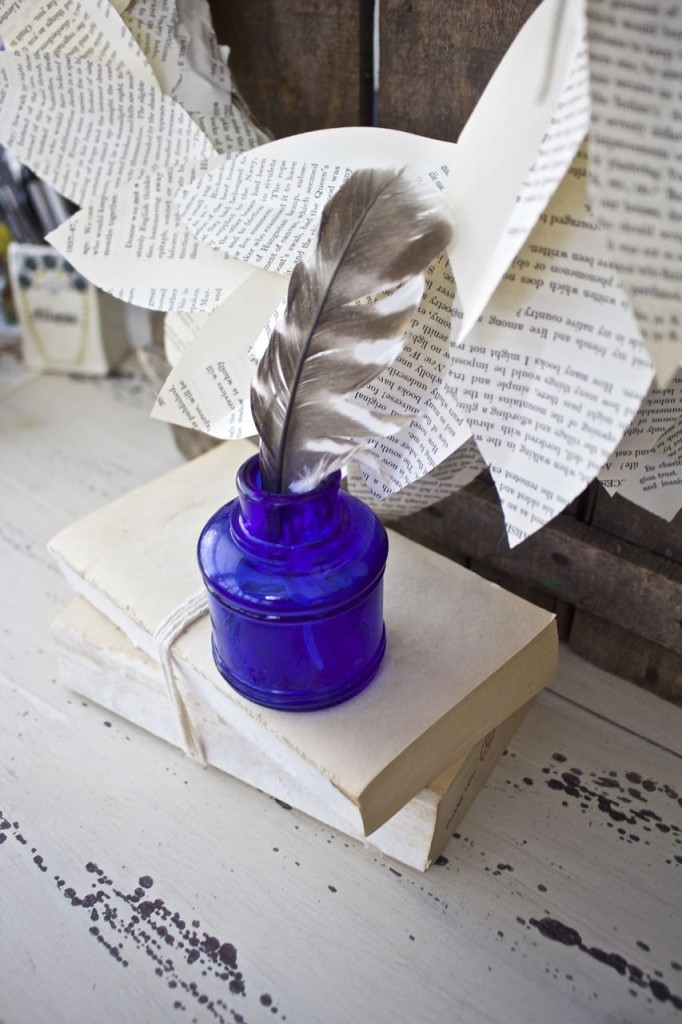 Book Page Magnolia Wreath. Cobalt blue vintage inkwell.