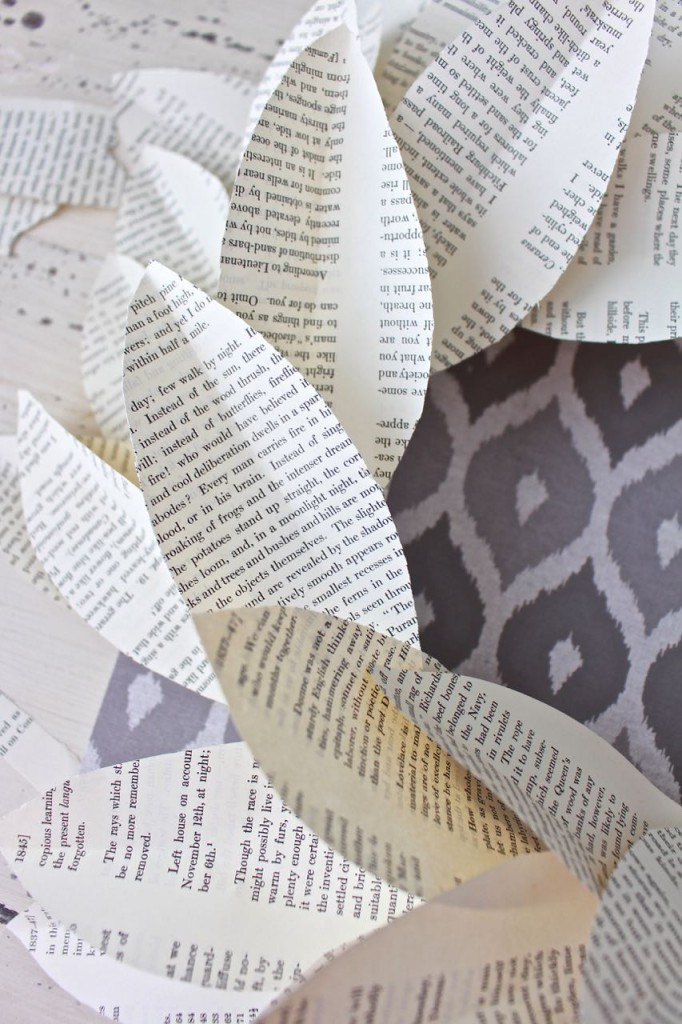 Book page magnolia wreath. Add the book page leaves one at a time going in the same direction.