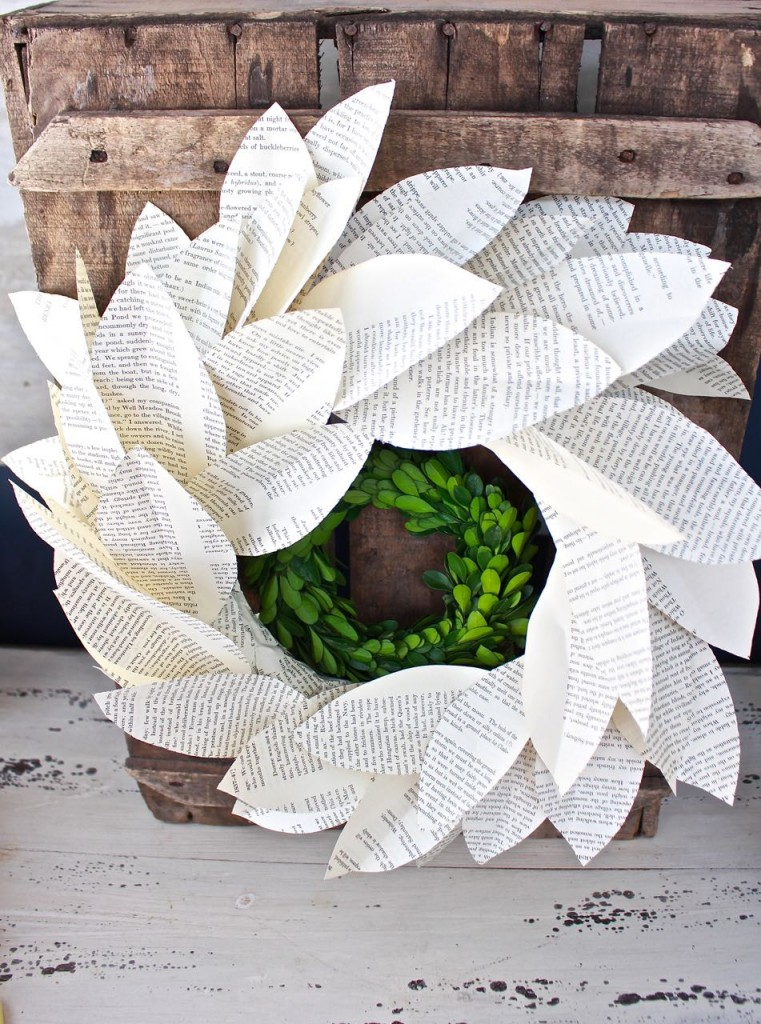 Book page magnolia wreath. Adding a boxwood wreath in the center is pretty and adds dimension.