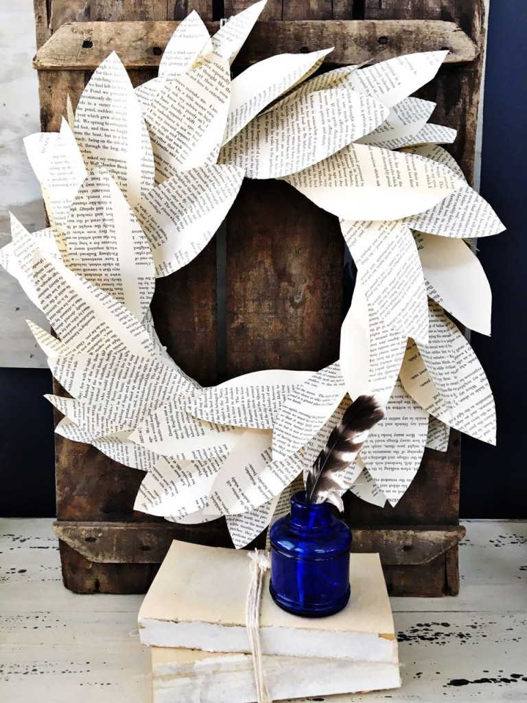 Book page magnolia wreath. Easy to make.