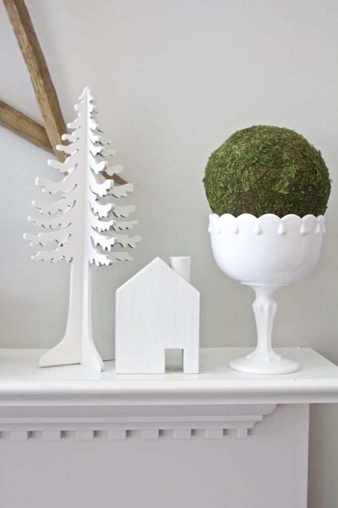 White and green winter decor