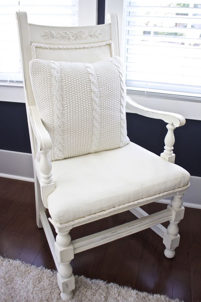 Winter Home Tour. Chalk painted desk chair and sweater pillow.
