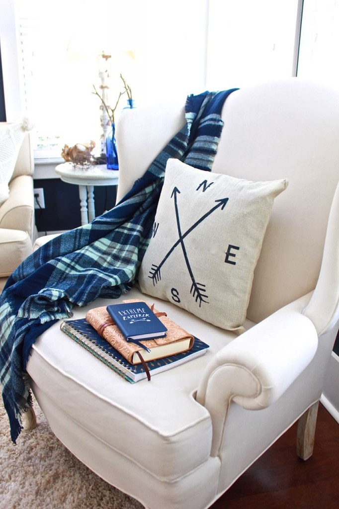 Winter Home Tour. Painted wing chair, blue plaid throw,