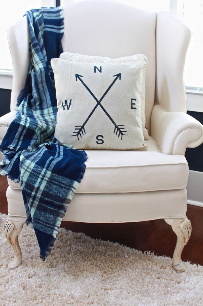 Winter Home Tour. Painted wing chair, plaid throw.