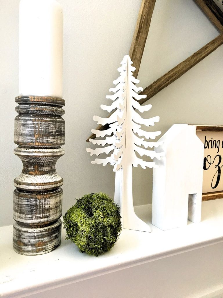 Winter Mantel Decor in White and Green