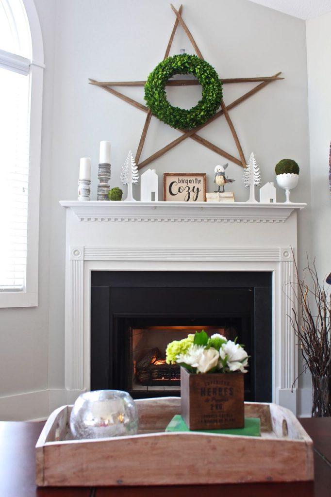 Winter mantel decor