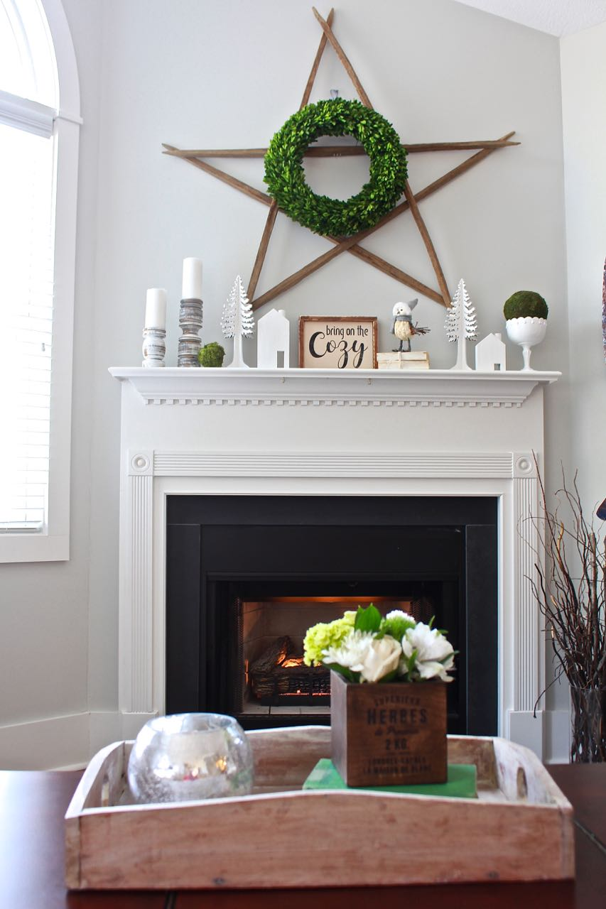 Winter Mantel Decor Using White And Green 2 Bees In A Pod