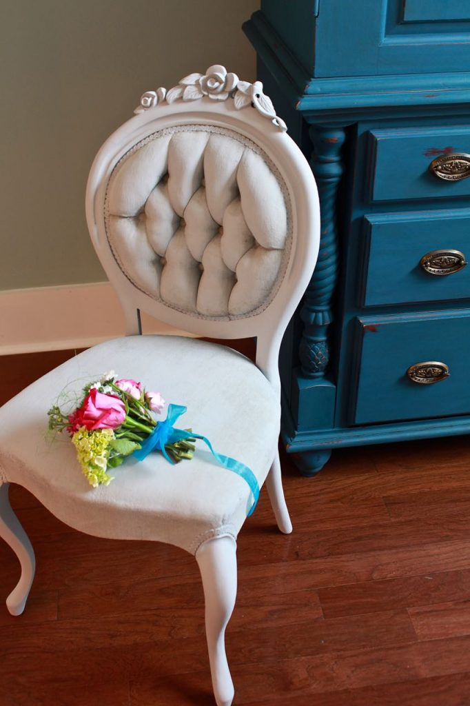 2 Bees in a Pod. Chalk painted side chair.