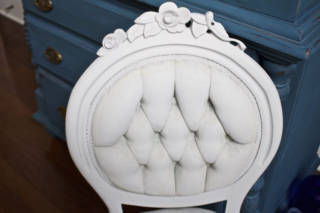 2 Bees in a Pod. Paris Grey Chalk Paint. Chalk Painted side chair.