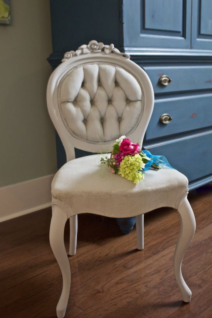 2 Bees in a Pod. Paris Grey chalk painted Victorian side chair.