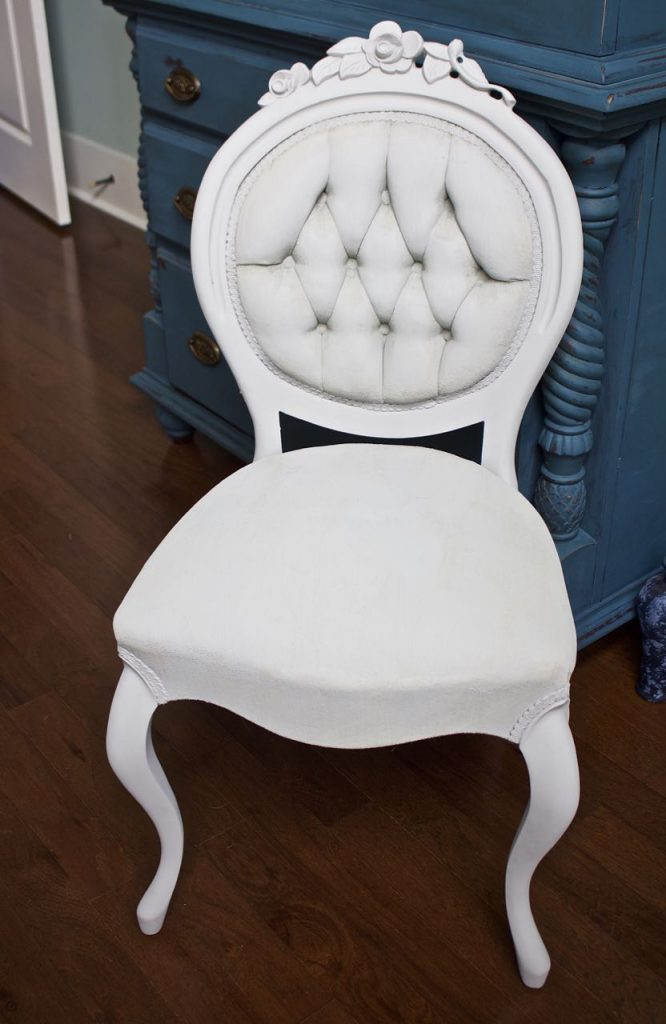 2 Bees in a Pod. Side chair painted with Annie Sloan Chalk Paint in Paris Grey.