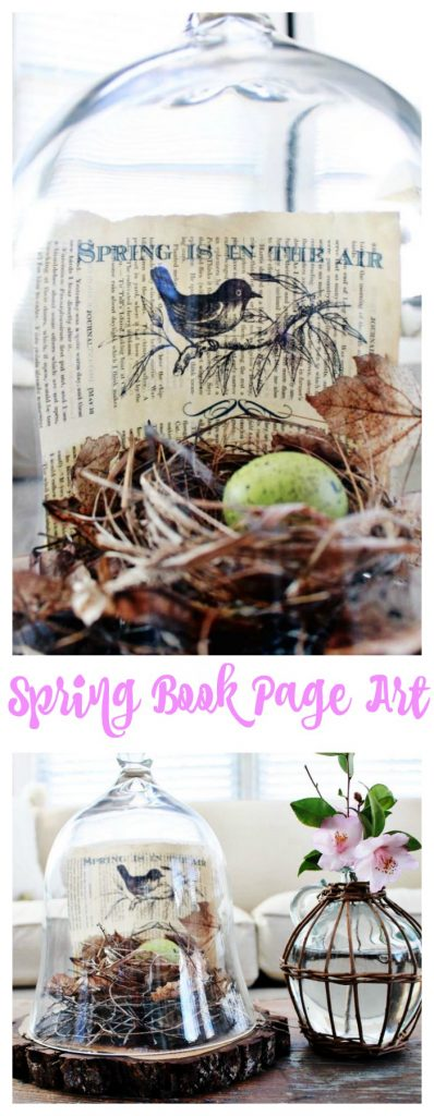 Spring book page art printed on vintage book page