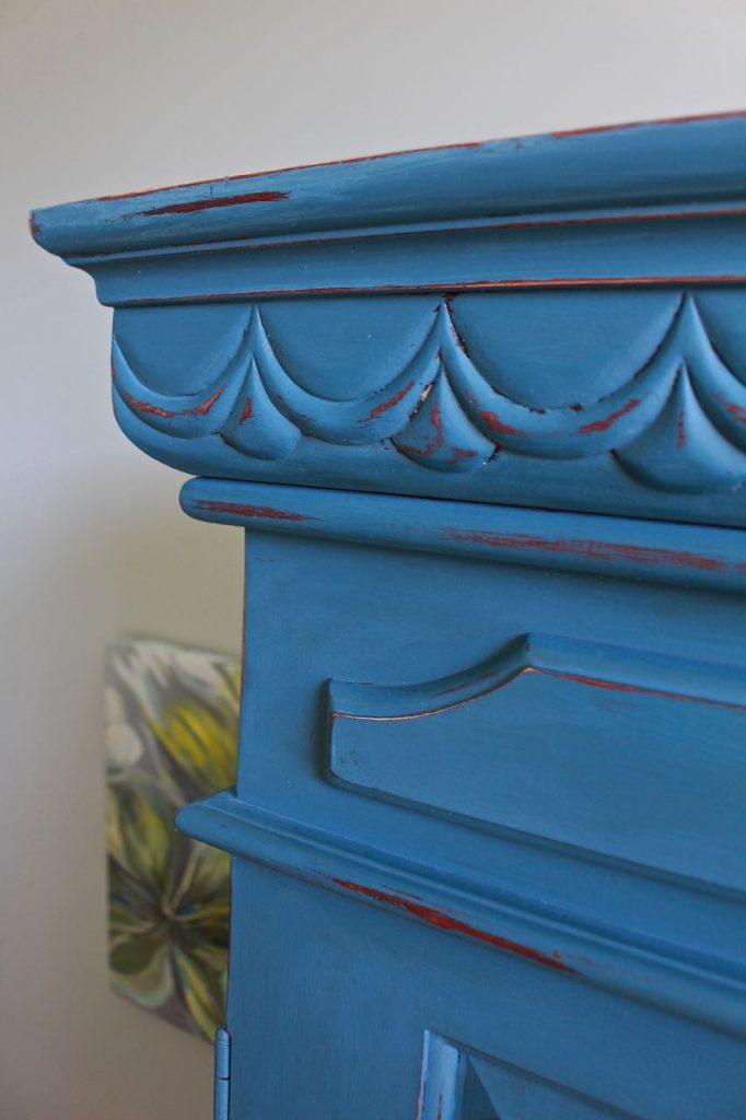 2 Bees in a pod. Chalk Painted Armoire. Aubusson Blue. Corner piece, final coat.
