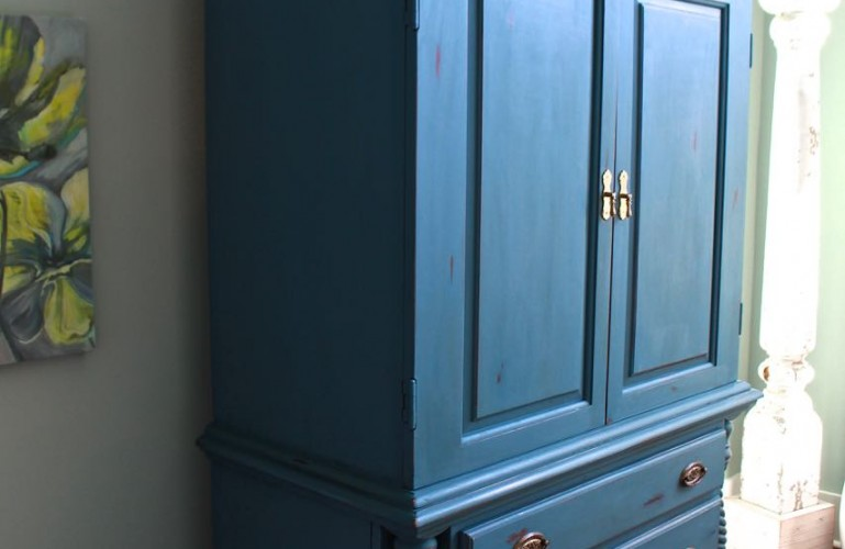 2 Bees in a pod. Chalk Painted Armoire. Aubusson Blue. Side view.