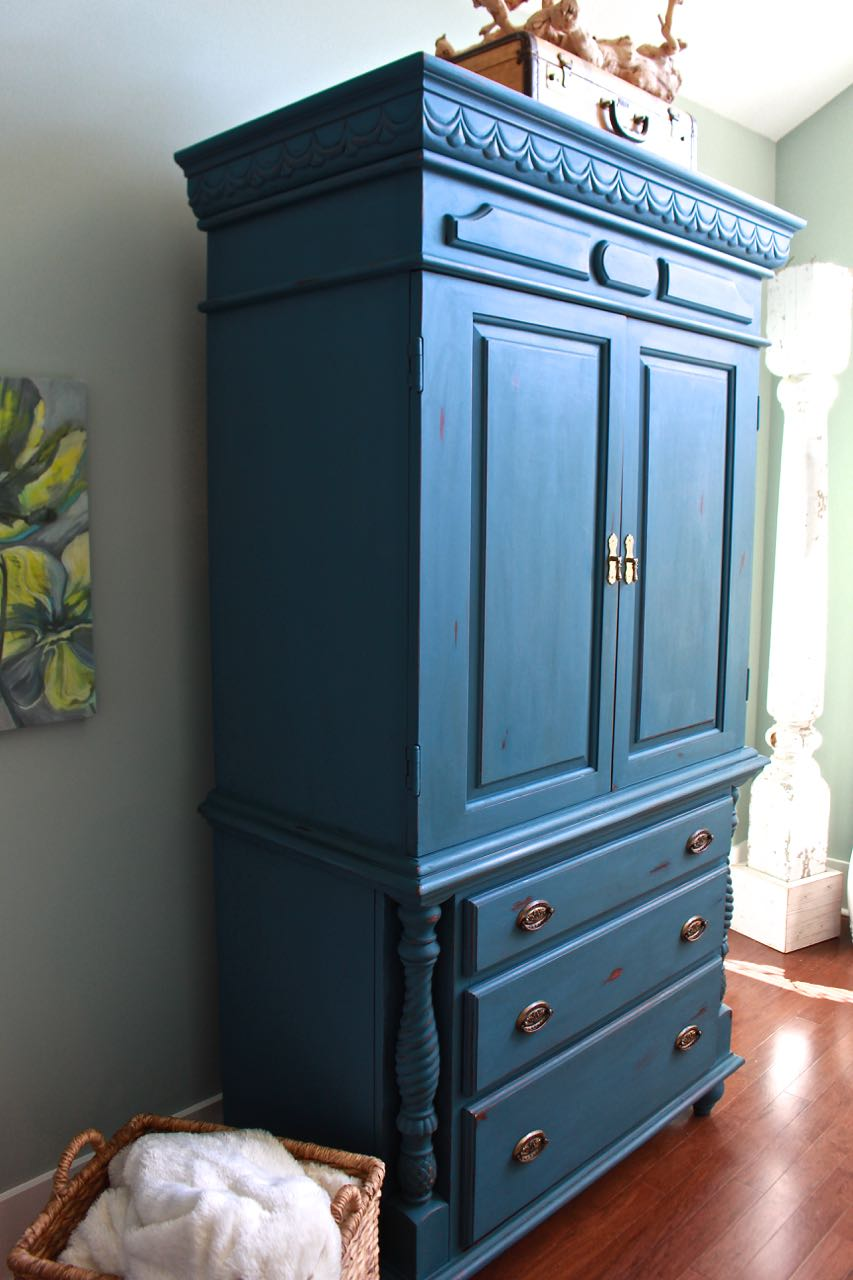 2 Bees In A Pod Chalk Painted Armoire Aubusson Blue Side View
