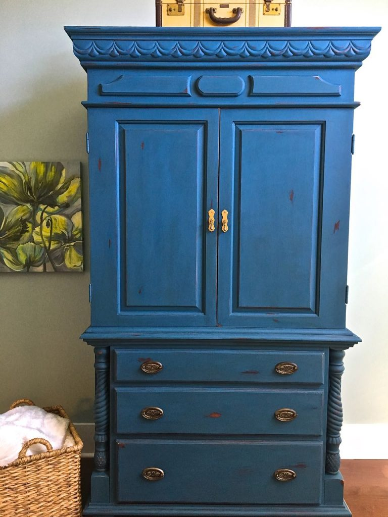 2 Bees in a pod. Chalk Painted Armoire. Aubusson Blue.Front view.