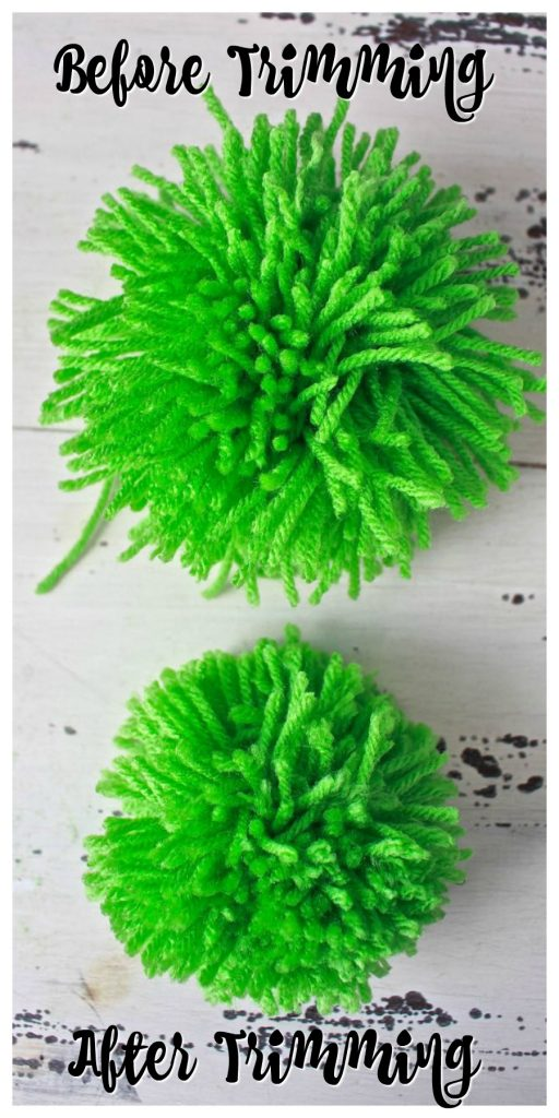 2 Bees in a pod. How to make a pom pom garland. Before trimming and after trimming pom pom.