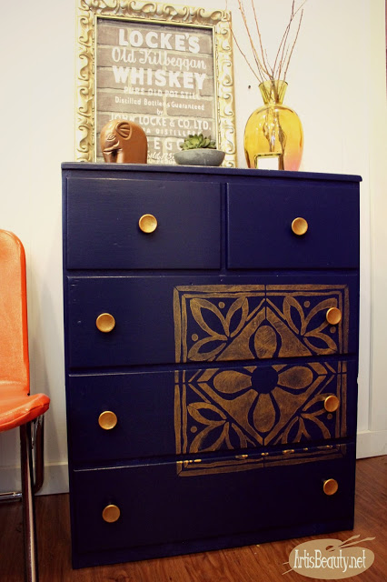 Art is Beauty - glossy indigo blue bohemain dresser with copper ti
