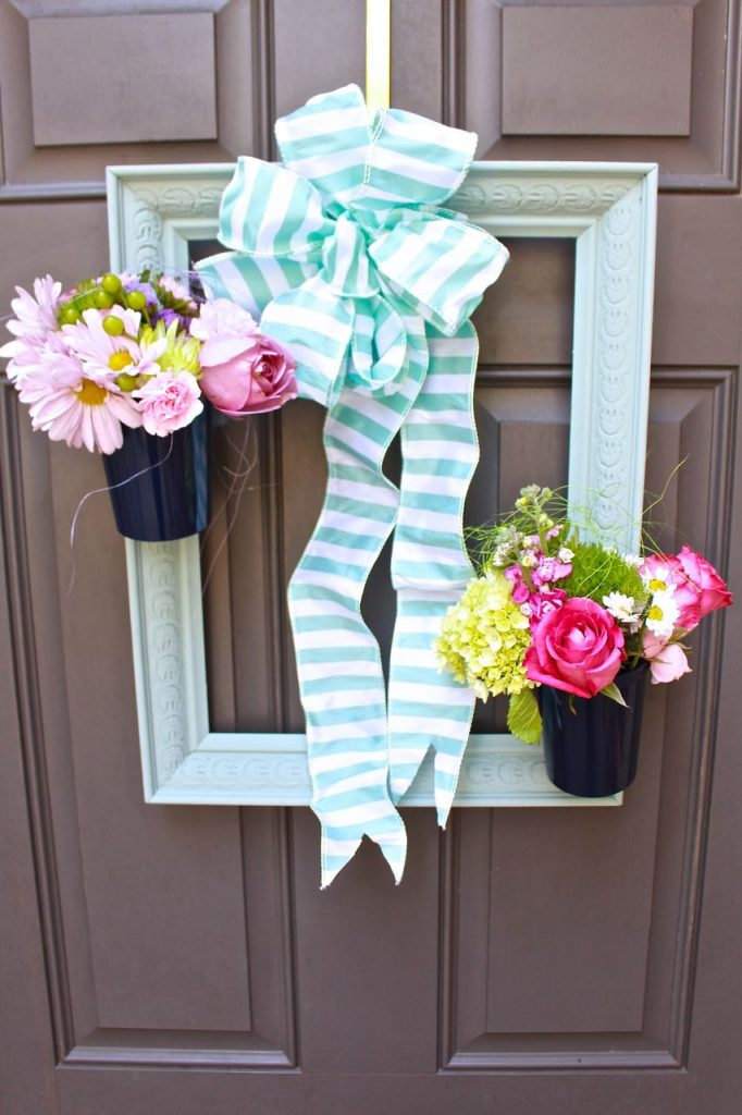 2 Bees in a Pod. Painted Picture Frame Wreath. Thrift Store Upcycle. Beautiful front door wreath made with picture frame