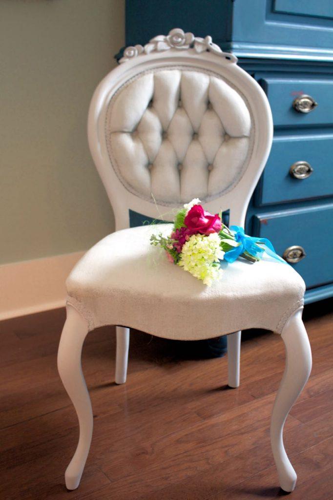 Chalk Painted Victorian Chair in Paris Grey