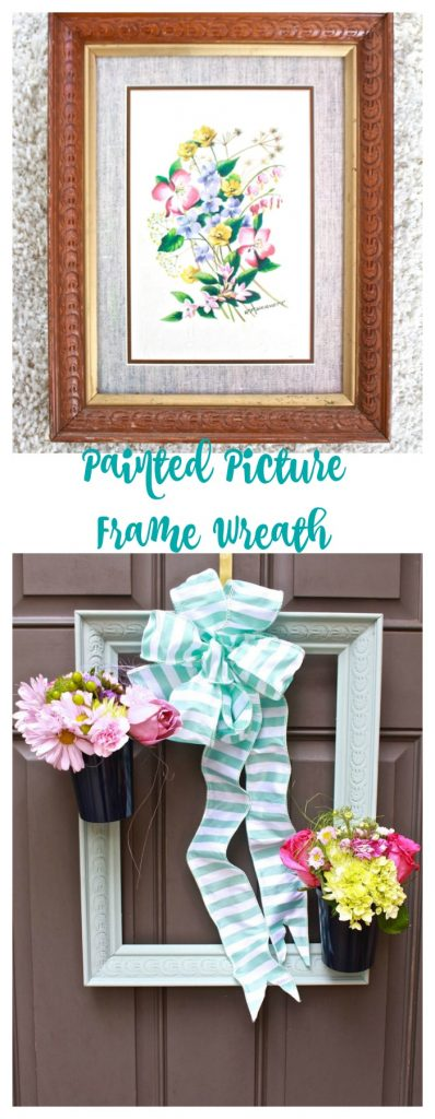 2 Bees in a Pod. Painted Picture Frame Wreath.